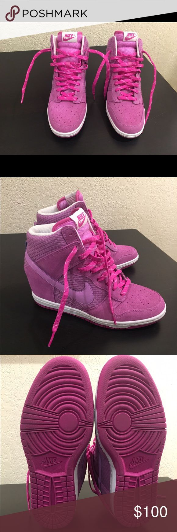 Nike Dunk SkyHI Essential Women's FuchsiaGlow NEW Nike Dunk Sky HI Essential Women's US 8.0 Fuchsia Glow MPN 644877-500. Wedge style sneaker. No box. Nike Shoes Sneakers