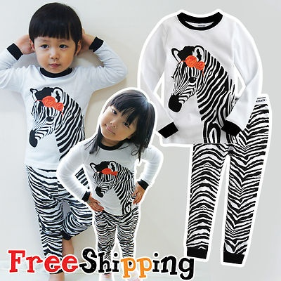 "NWT Baby & Toddler Kid's Boy Girl Sleepwear Pajama Set "" Zebra White """
