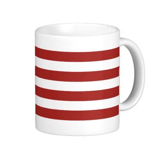 Striped Red Coffee Cup Mug