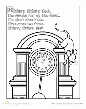Preschool Animals Nursery Rhymes Worksheets: Hickory Dickory Dock Coloring Page