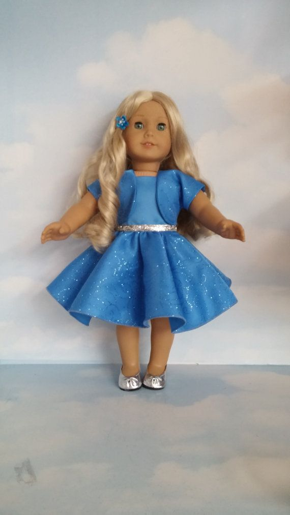 Last One! - 18 inch doll clothes - #319 Blue Sparkly Dress with Jacket Handmade to fit the American Girl doll - FREE SHIPPING