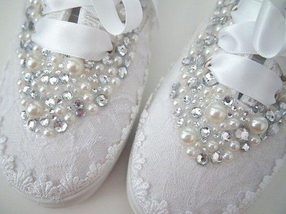 Boda zapatos tenis zapatillas  elegante encaje blanco o