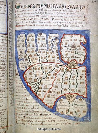"Map from from the fabled manuscript ""Liber Floridus."" From the 12th century/circa 1121 CE, the Book of Flowers is a Medieval encyclopædia produced by Lambert, Canon of St. Omer, in the northeastern France/Flanders/Belgium region."
