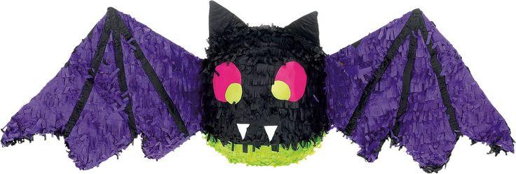 Pinhata Morcego: Esta pinhata representa um morcego. Ela é de cor preta com as asas roxas. Esta pinhata morcego mede a volta de 30.5 cm de altura e 96.5 cm de largura.Ela pode conter até 900 gramas de...