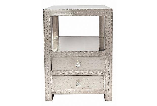 Embossed metal nightstand | Decor Ideas : Bedrooms | Pinterest ...