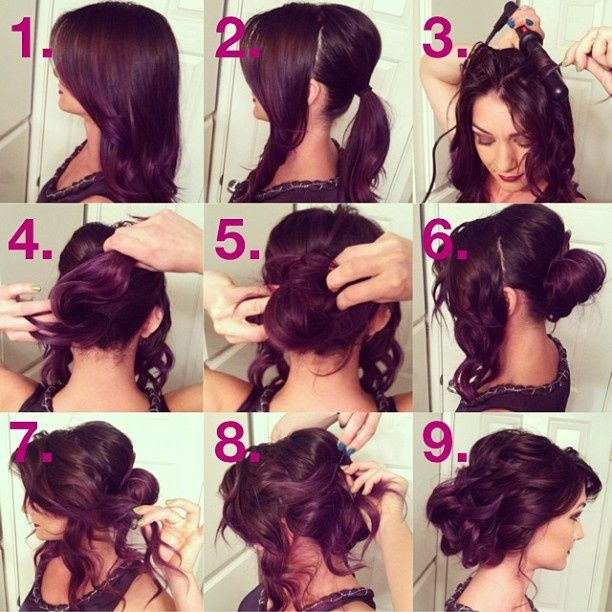I love the idea of what she did here, for a looser and greater looking bun - take already curled / waved hair, do a low messy bun, and then take pieces of the sides and pin them up leaving little pieces of curls or waves out.  This looks so pretty, and you don't have to worry about having to do your hair again later if it gets messy, because it already is!  (Don't you love that?)