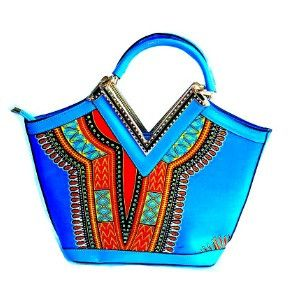 Dashiki African print Elegant Modern Fashion Handbag Blue - Zabba Designs African Clothing Store  - 1