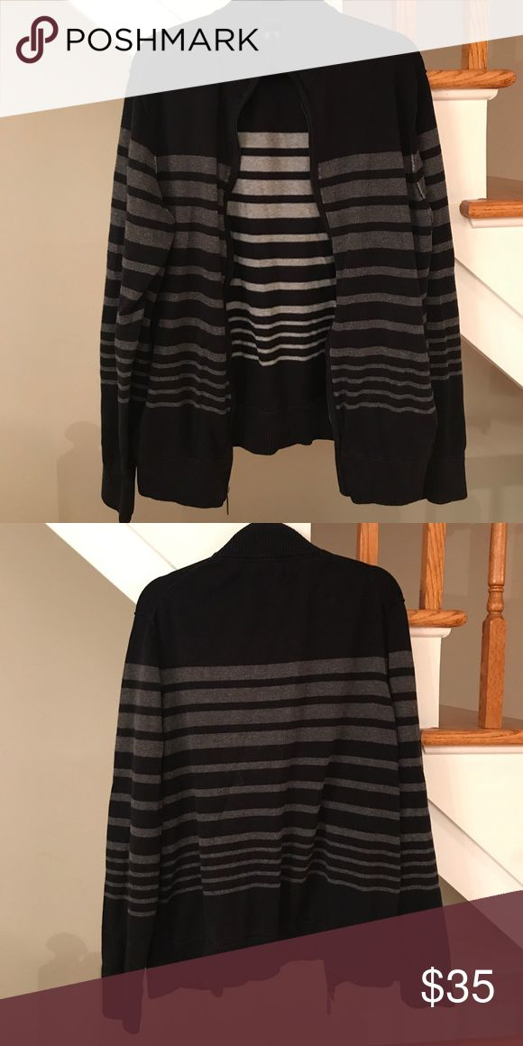 Men's Striped Zip-Up Men's Kenneth Cole Black and Gray Zip-Up Kenneth Cole Reaction Sweaters Zip Up