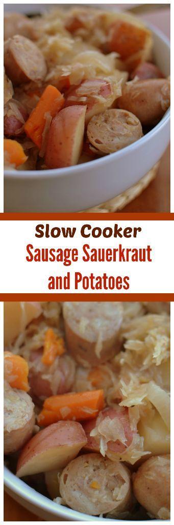 Slow Cooker Sausage Sauerkraut and Potatoes