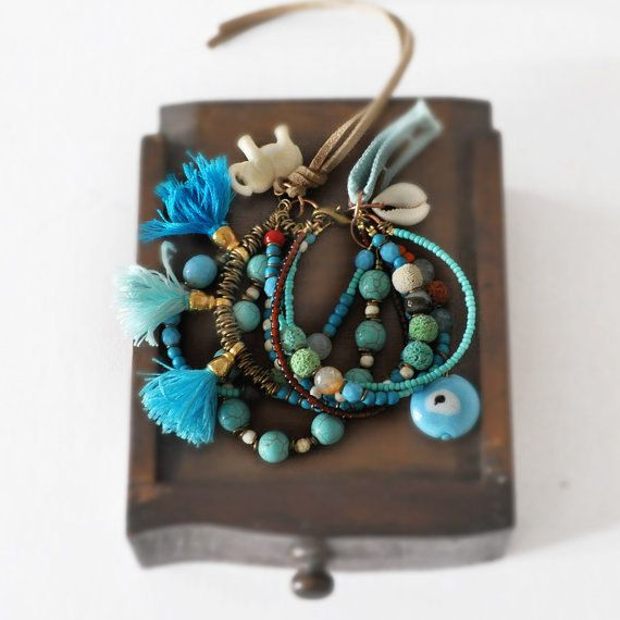 Bohemian Tassel Bracelet  Multi Strand Beaded by stellacreations