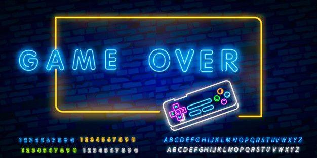 Game over neon text Premium Vector   Premium Vector #Freepik #vector #background #banner #technology