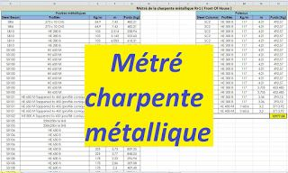 Exemple de métré charpente métallique R+1 - excel