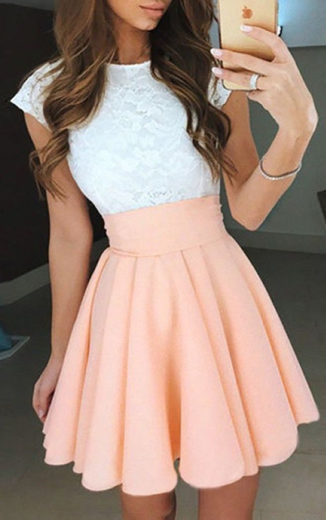 pinterest: @tisrianna | short pink and white homecoming dress