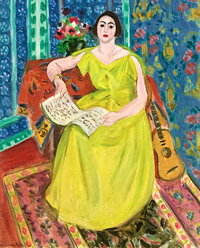 "Henri Matisse: ""La Femme En Jaune"". The model is Henriette Darricarrère, who Matisse often painted in the role of ""a musician, playing the piano, accompanied by a violin, as in the present composition, or as a painter in front of an easel. On other occasions Matisse dressed her in exotic oriental costumes, and painted her in the role of the Odalisque, one of his most celebrated subjects""."