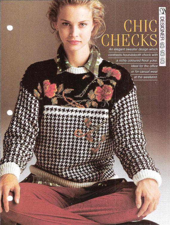 Knitting pattern  Woman's Chic Checks by MyPatternsCollection