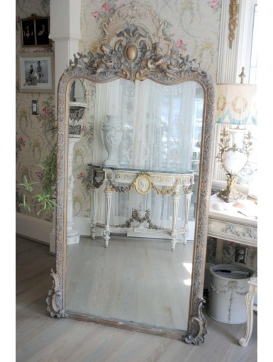 Grande Antique French Chateau Mirror with Large Figural Cherubs Crown