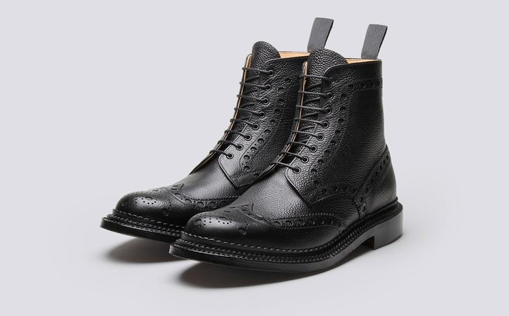 Mens Brogue Boot in Black Calf Grain Leather with a Triple Welt Leather Sole | Fred | Grenson Shoes - Three Quarter View