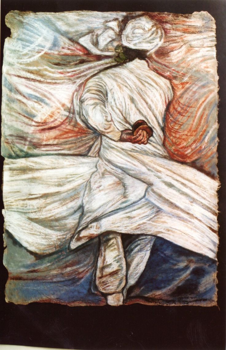 Sufidancer, pastel on paper, 1999, by Sanneke Griepink, sold