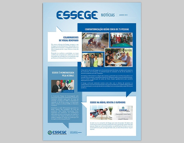 Desenvolvimento do projeto gráfico e diagramação do mural informativo para a construtora Essege, de Balneário Camboriú.
