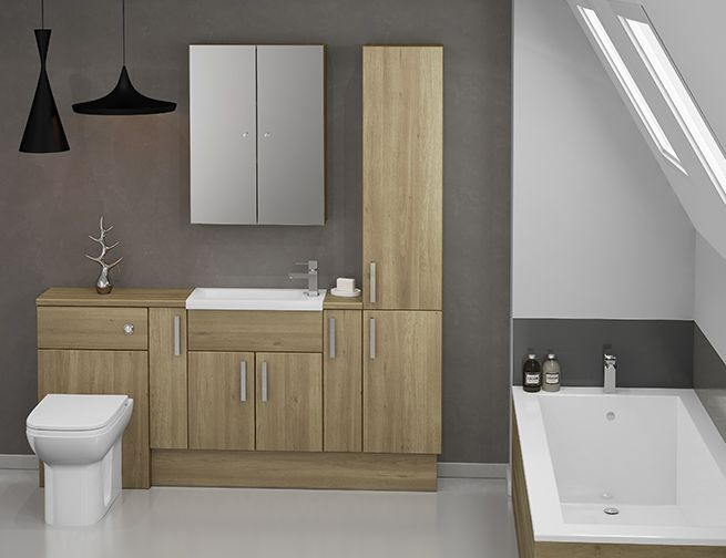 Choose Slab Or Shaker With Amazing Odessa Oak Bathroom Cabinets - If you're after a warm woodgrain finish for your bathroom cabinets, Odessa has a stunning mid oak hue. This finish is a perfect choice for a relaxing and tranquil bathroom space. Odessa can be styled in a number of ways, particularly as it's available in a slab door, or the shaker style Sofia door. Whichever style you choose, Odessa bathroom cabinets are sure to make a cosy and comfortable bathroom.