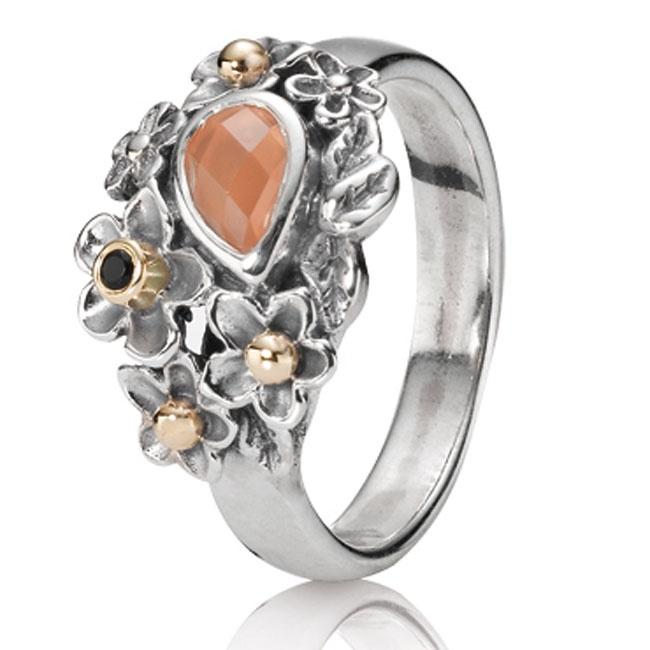 Pandora Moonstone Earrings: Pandora Dew Drops On Flowers & Orange Moonstone Ring