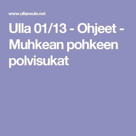 Ulla 01/13 - Ohjeet - Muhkean pohkeen polvisukat