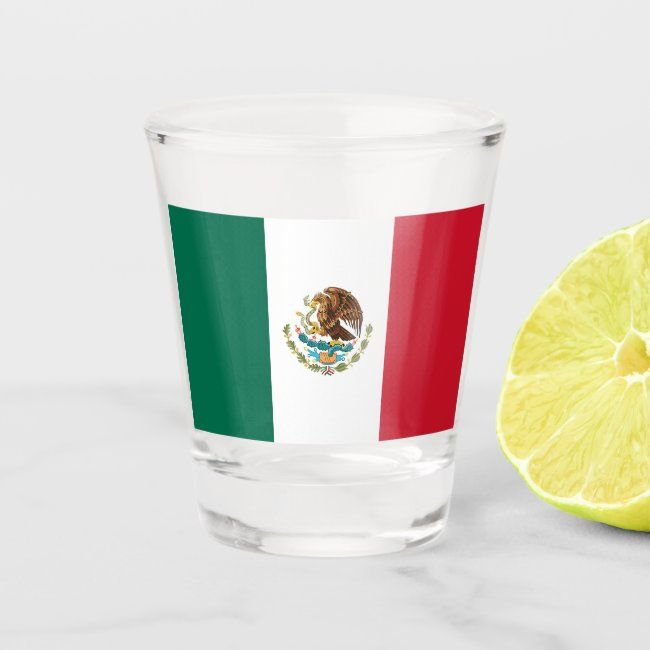 Patriotic Shot Glass With Flag Of Mexico Zazzle Com In 2020 Mexico Flag Shot Glass Mexican Flags