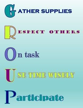 Cute poster that reminds students of group work rules.