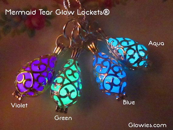 Mermaid Tear Glow Locket® Necklace Glows in the Dark by MoniqueLula