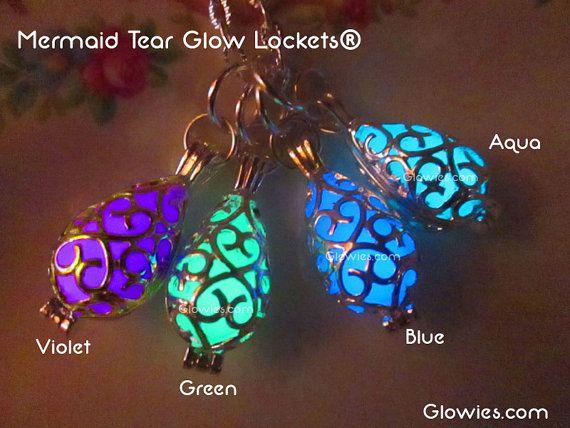 Meerjungfrau Träne Glow ® Medaillon Halskette von MoniqueLula