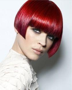 Short Bob Haircut Red. Bangs