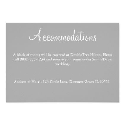 Gray Card- Accommodations Card - invitations custom unique diy personalize occasions