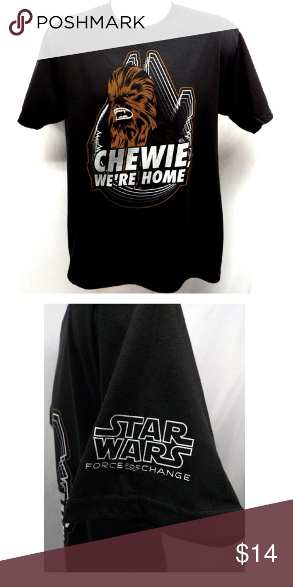 Star Wars Chewbacca T-shirt-CHEWIE WE'RE HOME-NEW! Show your love for STAR WARS and Chewbacca a addition to your collection! This T-shirt is soft light weight 100% cotton  Official Merchandise! Black very soft shirt by Omaze OMAZE Shirts Tees - Short Sleeve