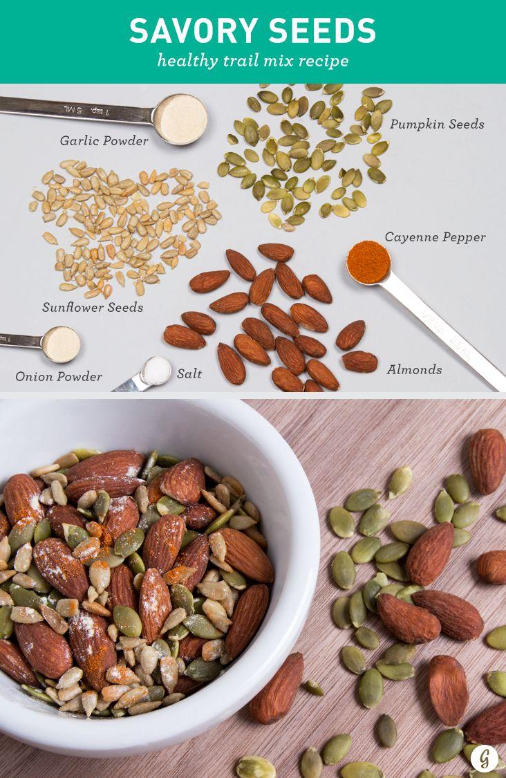 Savory Seeds: Almonds, pumpkin seeds, sunflower seeds, garlic powder, onion powder, cayenne pepper.