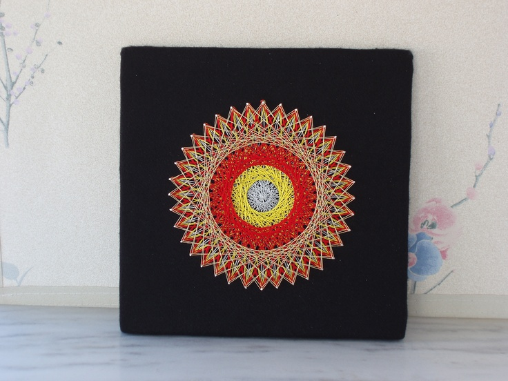 """Piece number 16 - made for two friends in Kruševo in the Republic of Macedonia and entitled """"Makedonija"""" - using the yellow and red of the country's flag."""