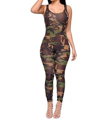 FCYOSO Women Army Green Camouflage Jumpsuits Rompers US MAsiaL Army Green * You can get more details by clicking on the image.