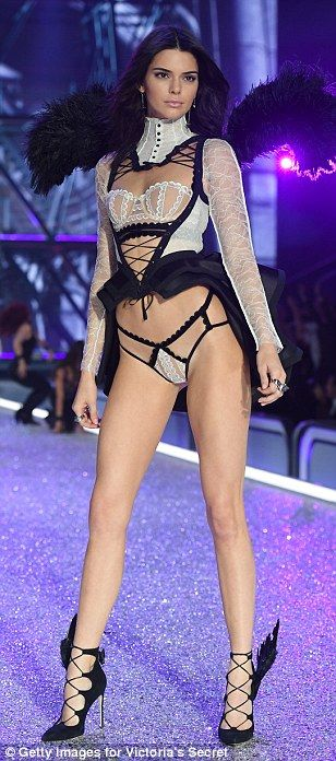 French maid: Kendall wore a very sexy monochromatic lingerie set...