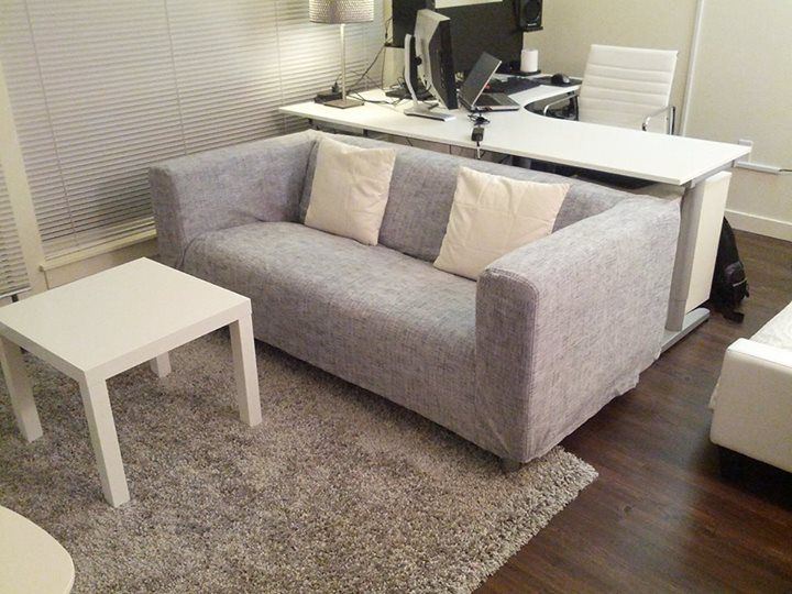 Customer photo | Comfort Works custom made Klippan 2 seater sofa cover in Nomad Grey fabric