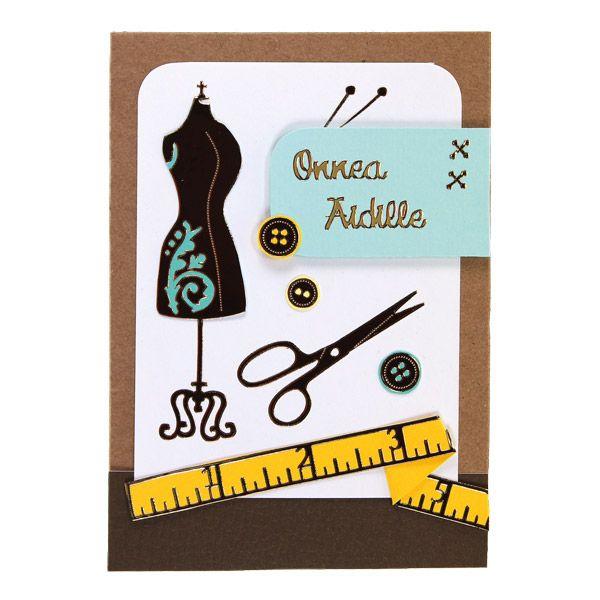 Ompeluaiheinen ääriviivatarroilla toteutettu kortti äidille! Tarvikkeet ja ideat Sinellistä!