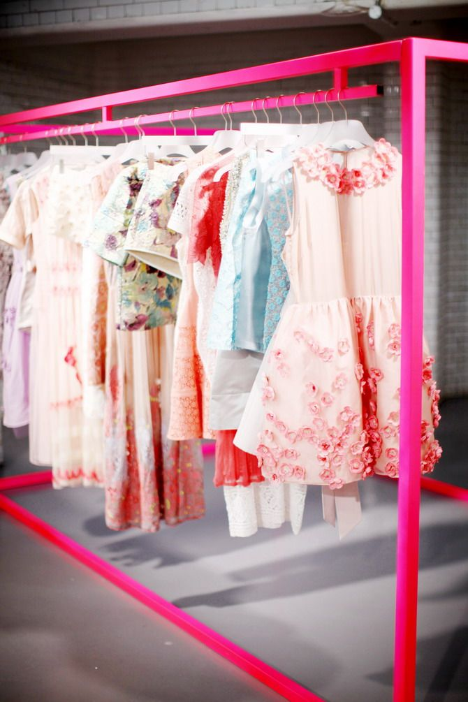 Fluro bright pink updates a clothes rack, in the Asos showroom