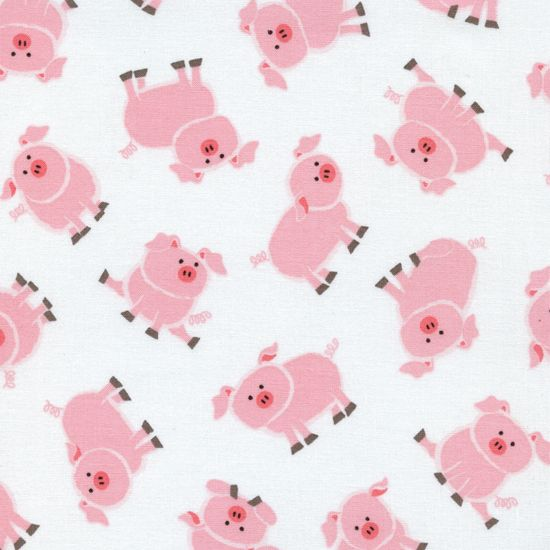 TT Tossed Pink Pigs Fabric Piggies Novelty Print Pig on White