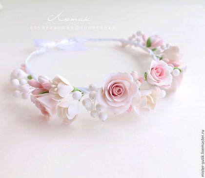 Купить Свадебный веночек с розами из полимерной глины - венок из цветов, венок с цветами, свадебный веночек
