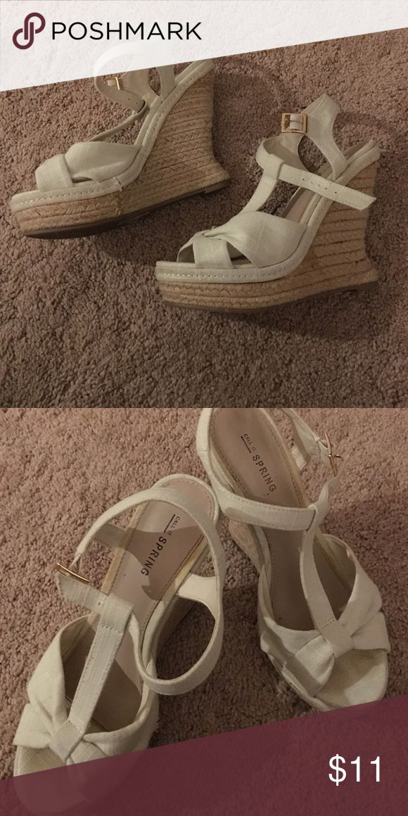 "Beige Wedges From the show company ""Call It Spring"": a beige wedge with adjustable straps. Gently worn and true to size. Call It Spring Shoes Wedges"