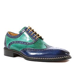 Dogen Shoes by Jose Real Italian Mens Shoes Crust Jeans / Verde Wingtip Oxfords (RE1000)