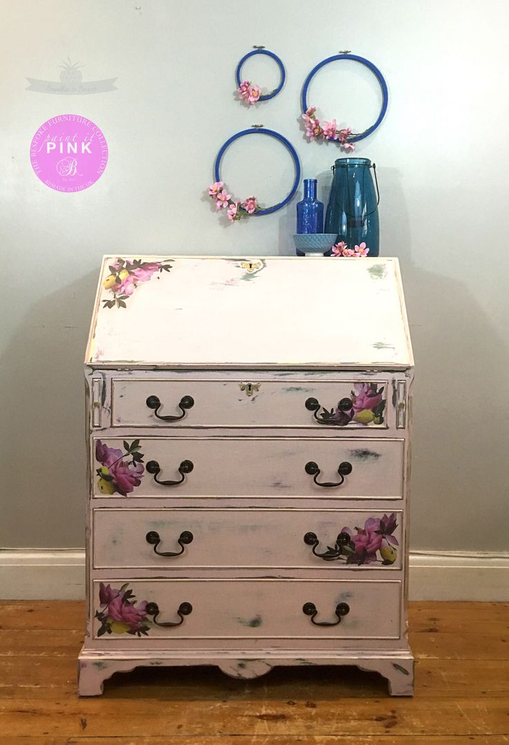 Painted pine farmhouse kitchen table by distressed but not forsaken - Romantic Pink Bureau Painted With Layers Of Greens And Pinks Distressed To Reveal The Beautiful Colour Combinations The Bureau Has Been Decoupaged With A