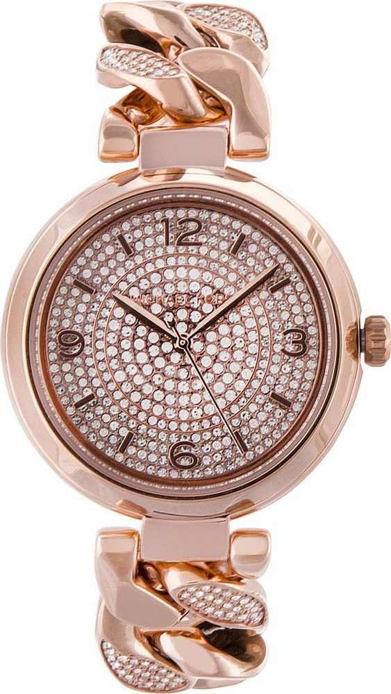 a917c4eb4482 Details about New Michael Kors MK5862 Camille Glitz Rose Gold Pave Crystal  Round Women s Watch