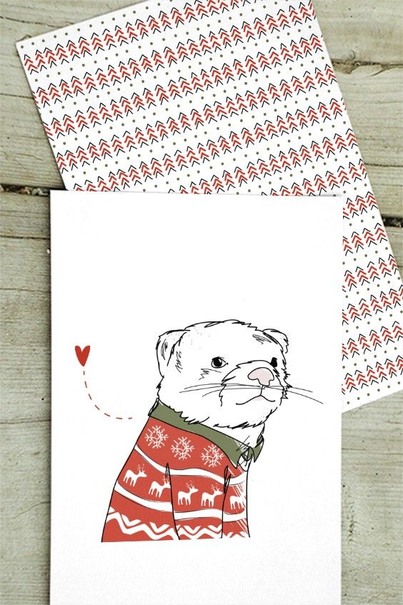 """Christmas Cards from the """"Humming in winter woodland"""" collection by Christina Heitmann. Chillin´ Polecat / Polecat Tunes. #christmas #cards #christmascards #polecat #ferret #woodland #nordic #nordicdesign #illustration #illustrator #heart #love #cute #animal #wildanimals #wildlife #christmassweater #sweater #nordicanimals #pattern #christmasgreetings #greetings #singing #sing #humming #shop #gift #giftideas #holidaygreetings #winter #winterpolecat"""