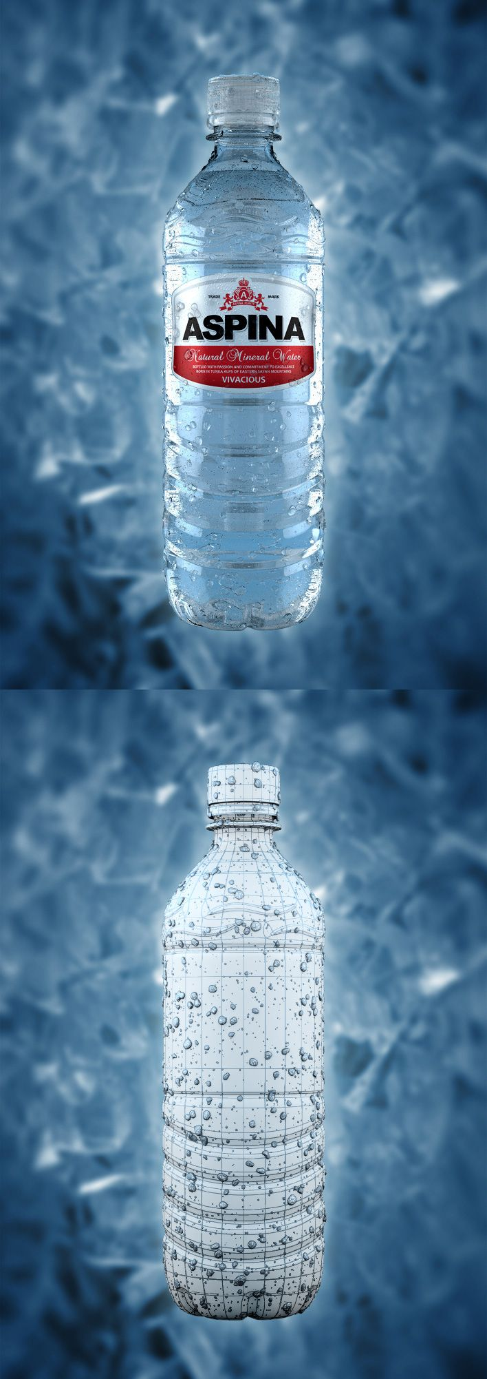 3d visualization of water bottle with droplets.