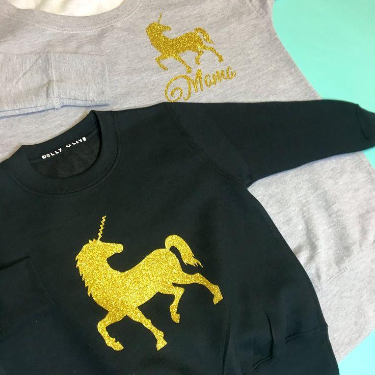 Unicorn Sweaters: Grey & black, matching unicorn sweatshirts, matching unicorn outfits, unicorn sweater, unicorn sweatshirt, unicorn girls jumper