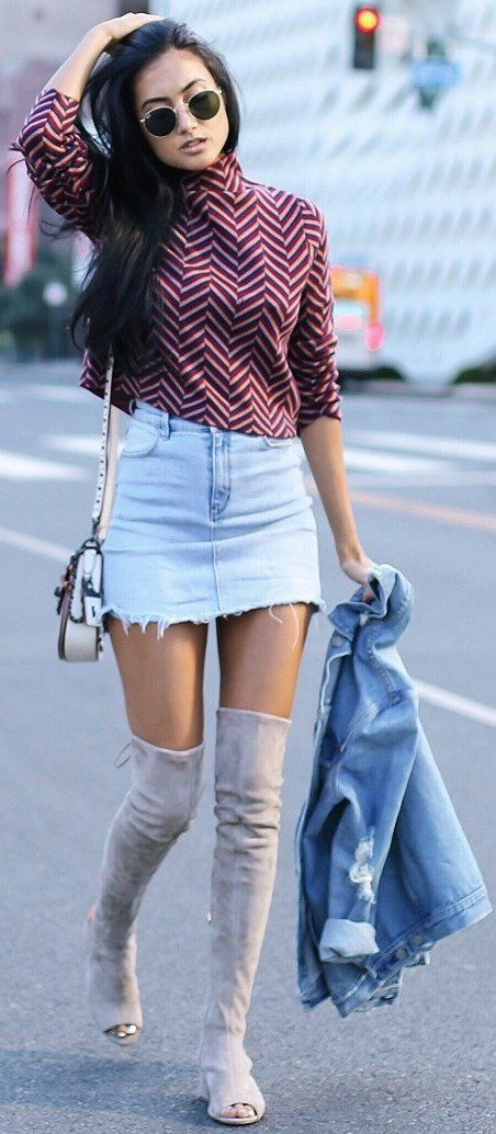 #fall #trending #outfits | Chevrons + Denim